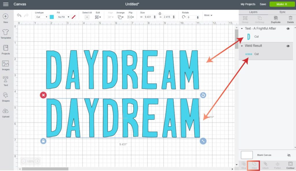 Graphic that shows how to weld text so you can contour an image