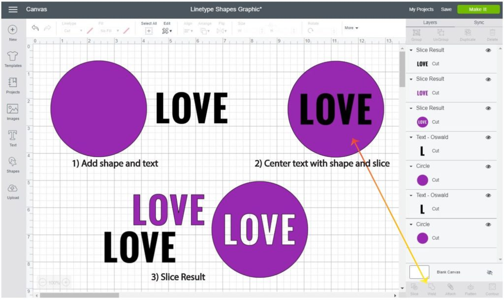 Screenshot Cricut Design Space: Step by step of how to cut text out of a shape