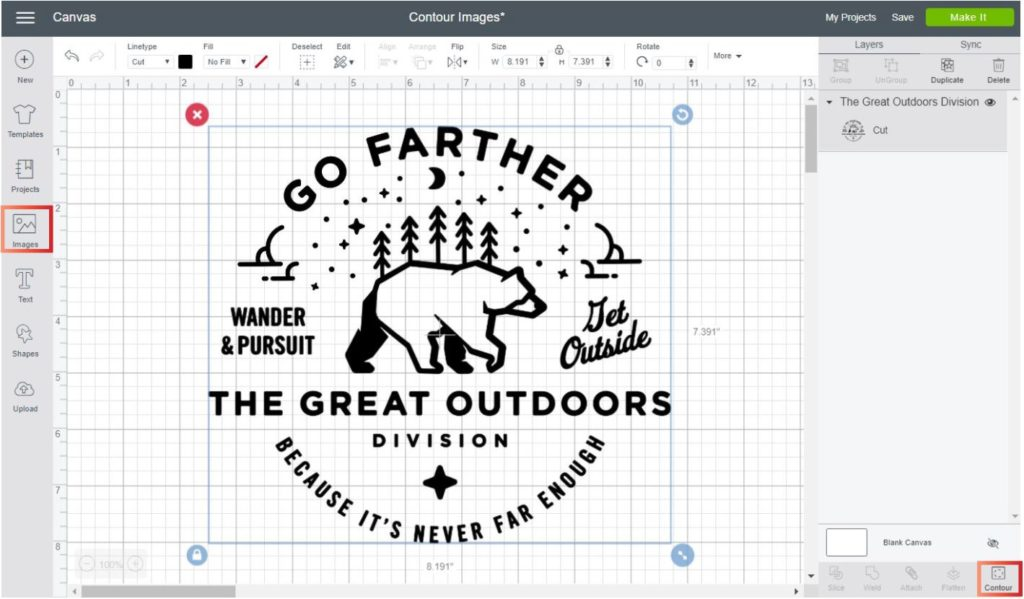 Insert an image from Cricut's library to add contour