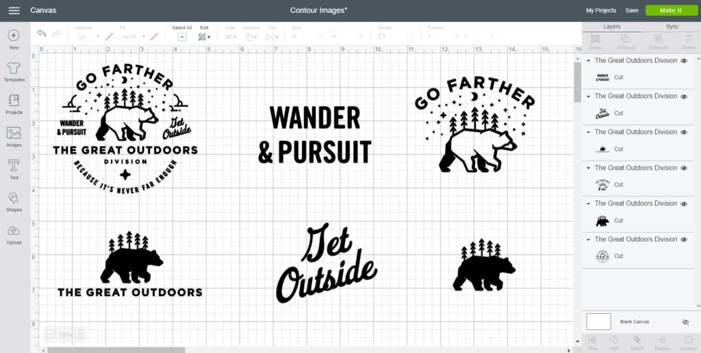 examples of contouring a complex image in Cricut Design Space