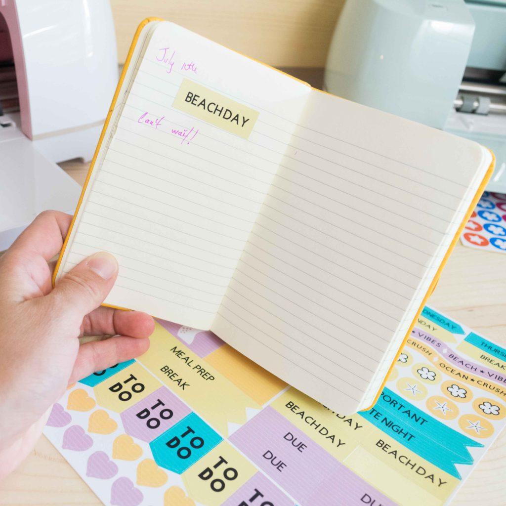 Sticker on a journal