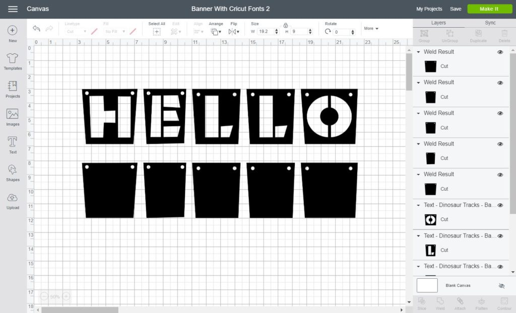 Screenshot Cricut Design Space:  cover and background banner using Cricut Fonts
