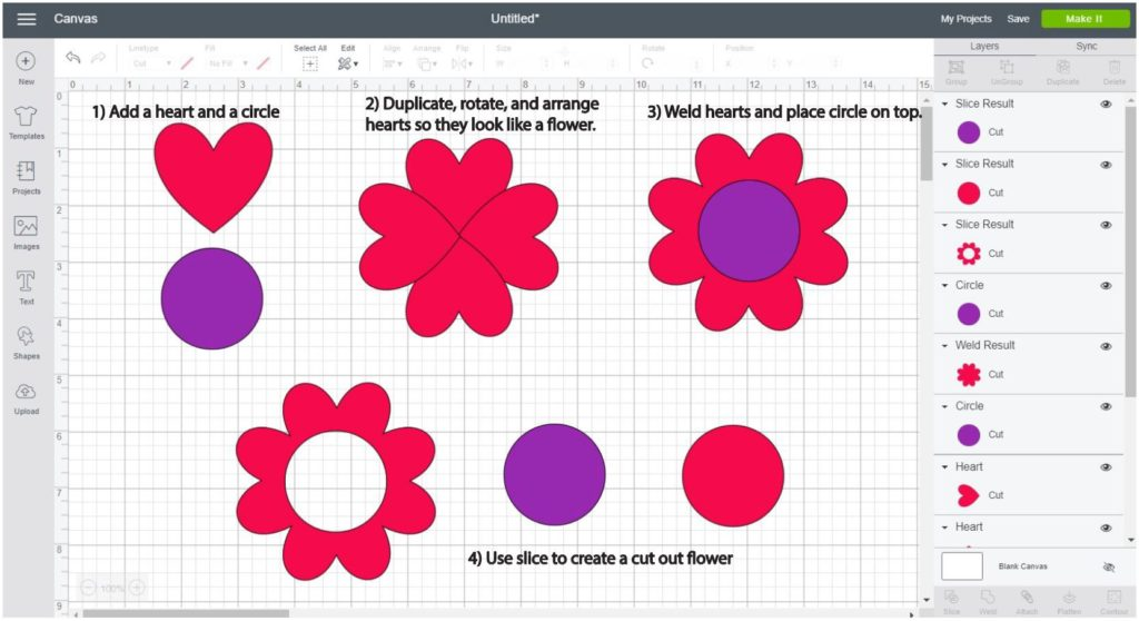 Screenshot Cricut Design Space: Step by step of how to make a flower using hearts and circles