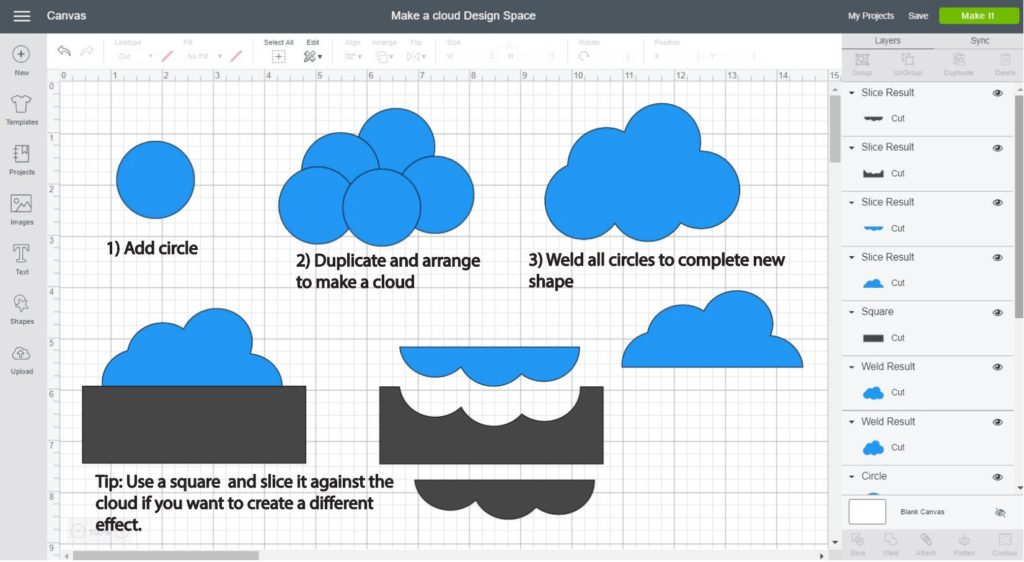 Screenshot Cricut Design Space: Step by step of how to make a cloud using just a circle