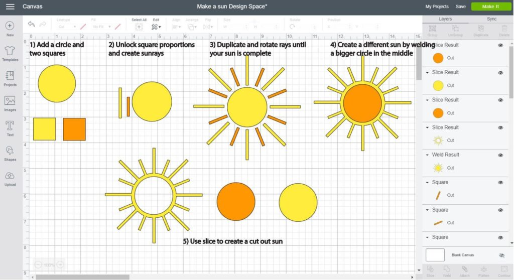 Screenshot Cricut Design Space: Step by step of how to make a sun using a circle and two squares
