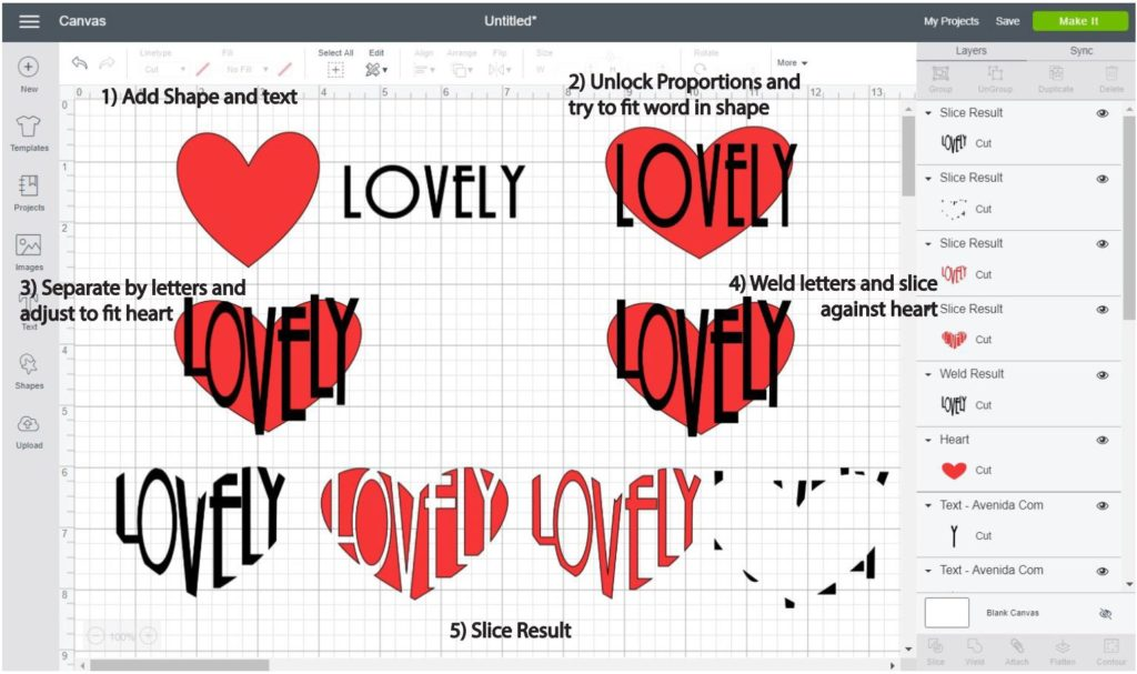 Screenshot Cricut Design Space: Step by step of how to make a word into a heart shape