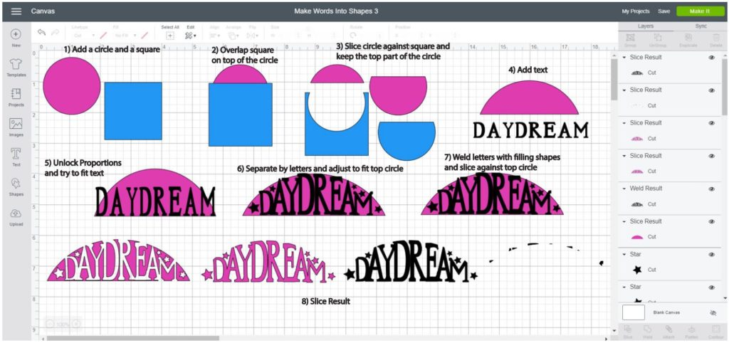 Screenshot Cricut Design Space: Step by step of how to make a word into a half circle shape