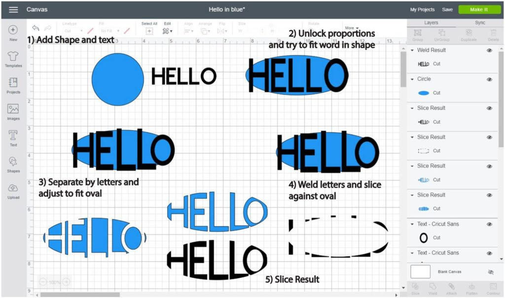 Screenshot Cricut Design Space: Step by step of how to make a word into an oval shape