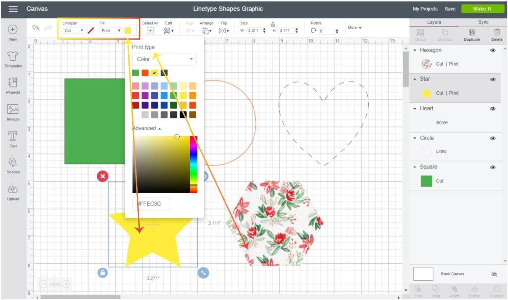Screenshot Cricut Design Space:  Change color for  print then cut shape and add patterns