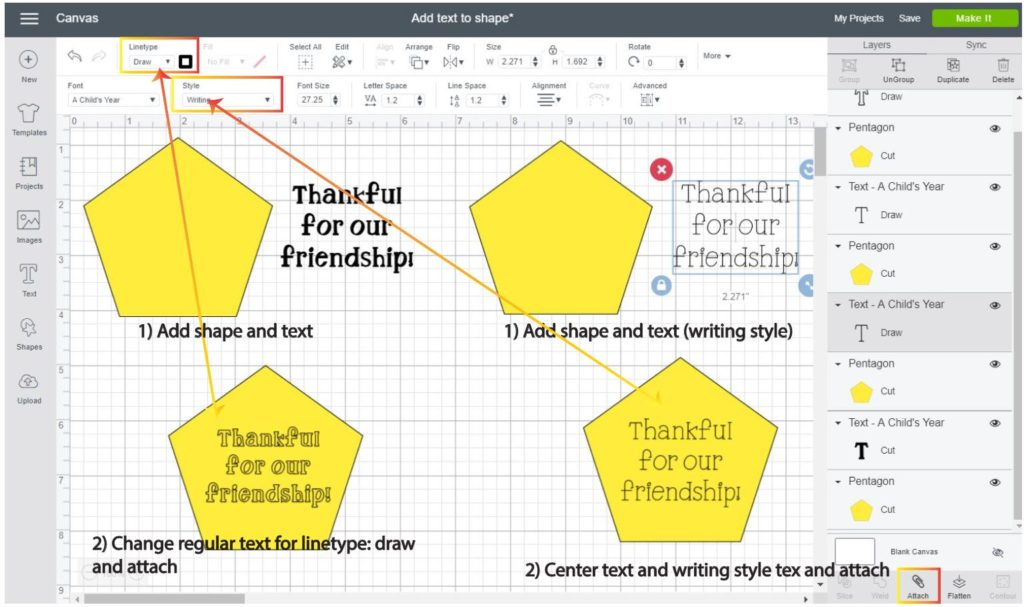 Screenshot Cricut Design Space: Step by step on how to draw on a shape with handwritten and outlined fonts