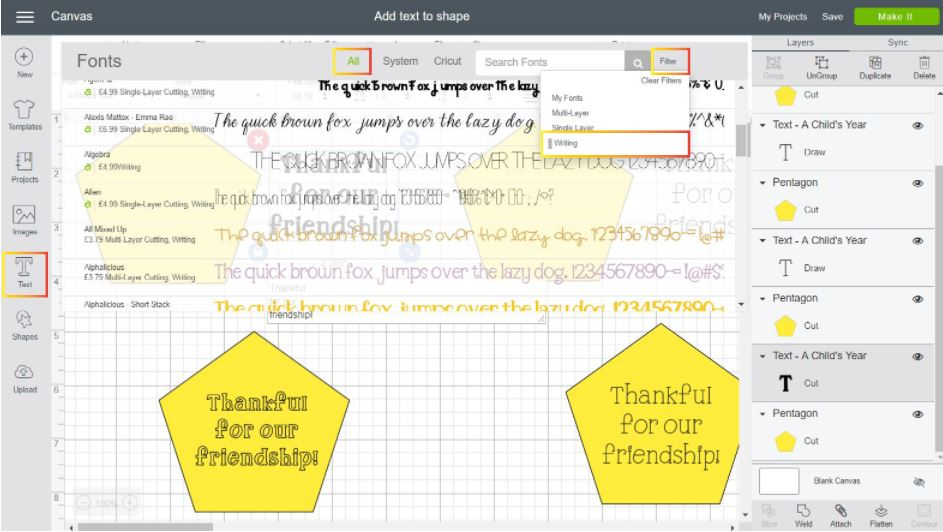 Screenshot Cricut Design Space: how to select a writing font to draw on a shape