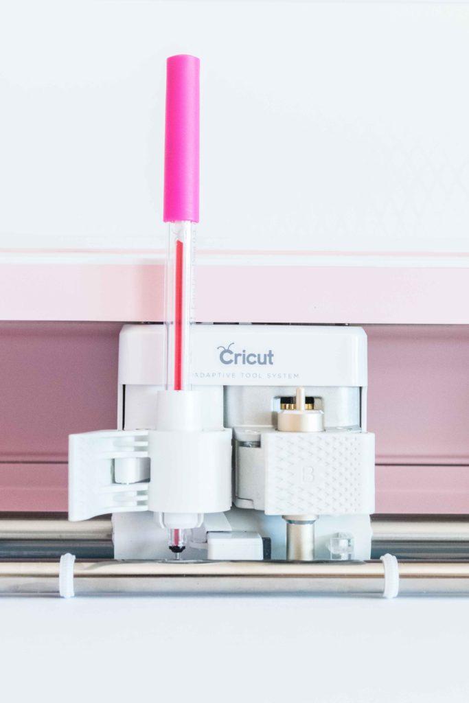 Pink Cricut Pen in clamp A