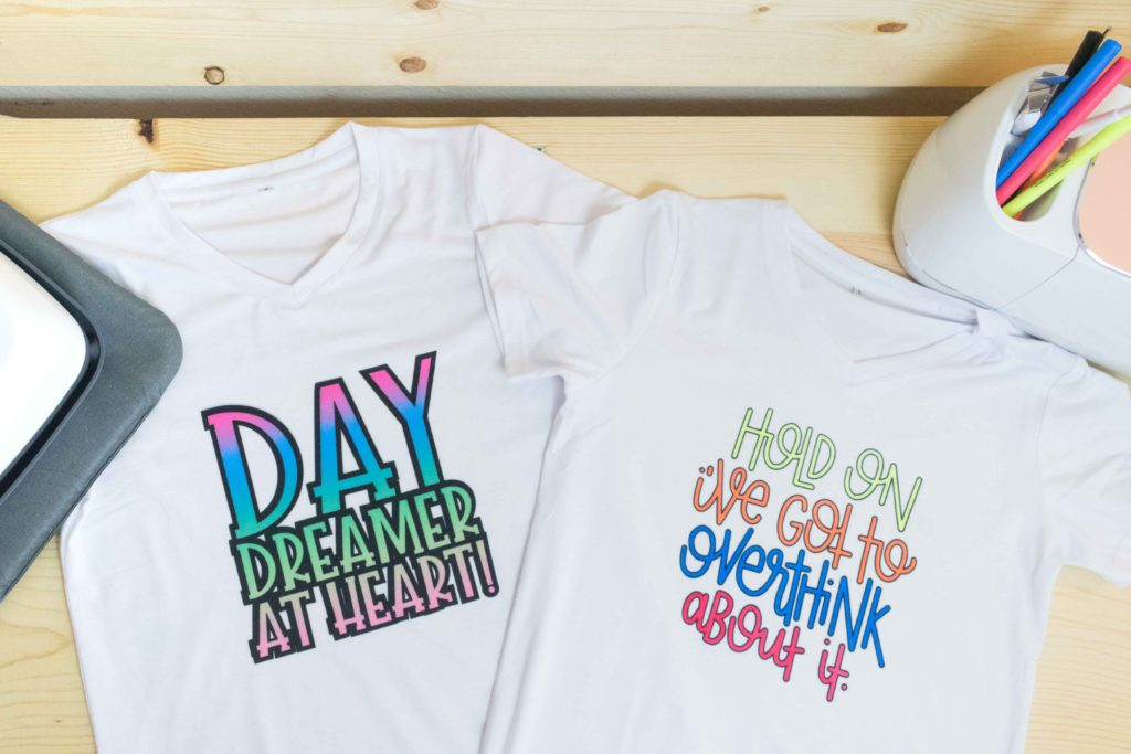 T-Shirts made with Cricut Infusible Ink Transfer Sheets and Cricut Infusible Ink Pens