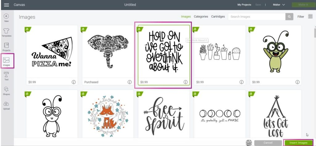 Select Image in Cricut Design Space
