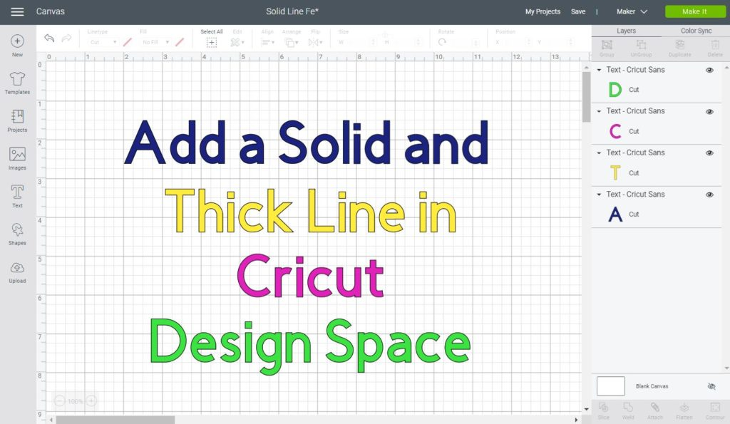 Add a Solid and Thick line in Cricut Design Space
