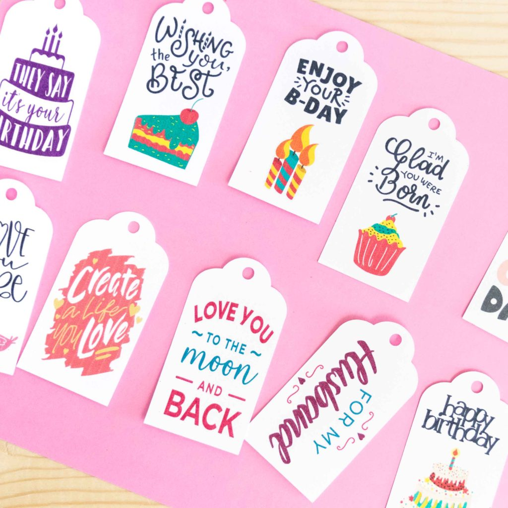 Multiple Gift Tags made with Cricut Print then Cut