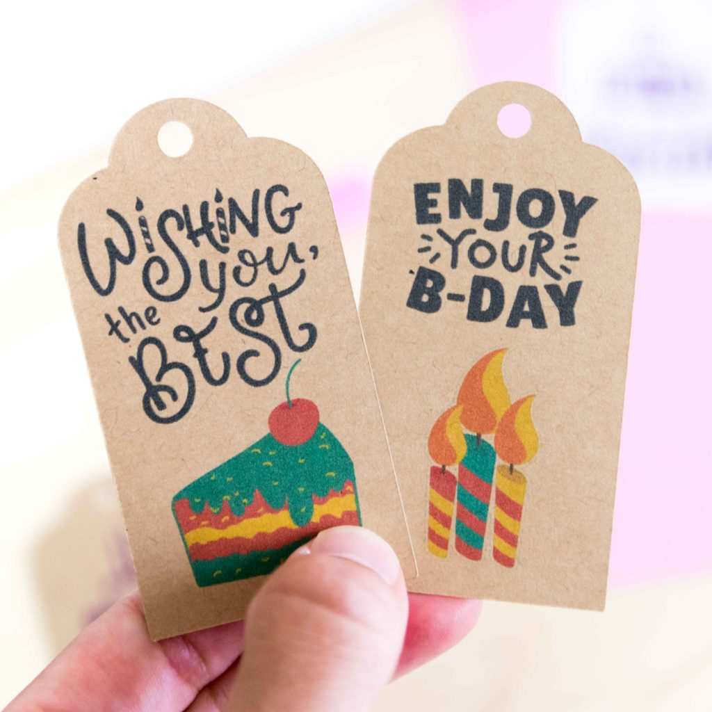 Gift tags made with Cricut Print then Cut in kraft (brown) cardstock paper