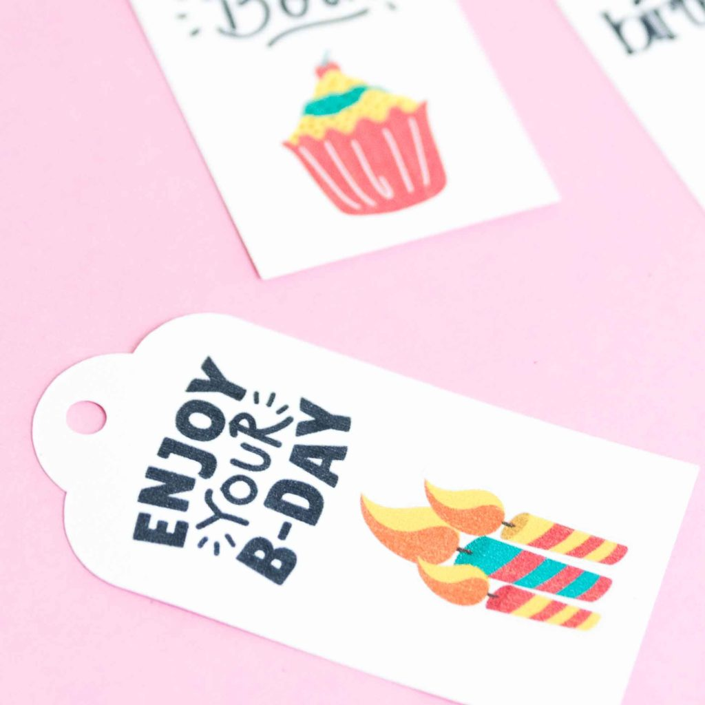 Gift tag made with Print then Cut in white cardstock paper