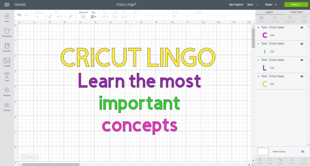 Cricut Lingo text written in Cricut Design Space