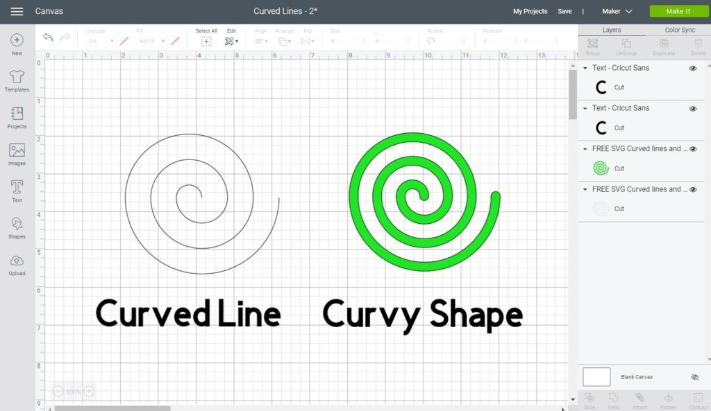Spiral Line and Spiral Shape in Cricut Design Space