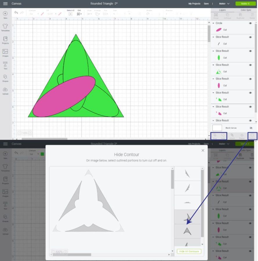 Slicing Corners of Triangle in Cricut Design Space.