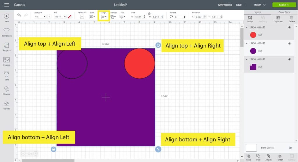 Aligning and slicing circles in a square to make rounded corners.
