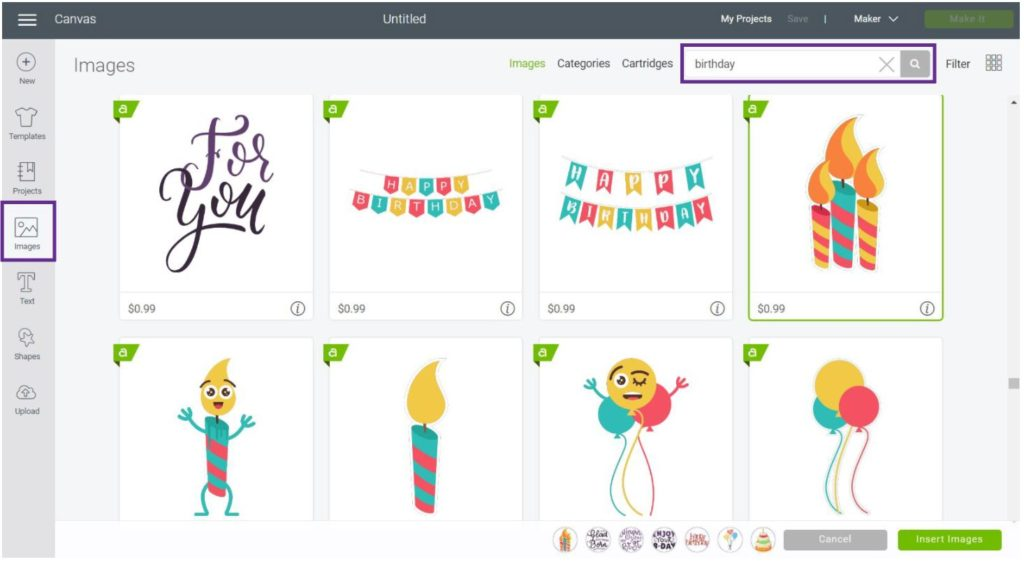 Add images for Print then Cut gift tags in  in Cricut Design Space
