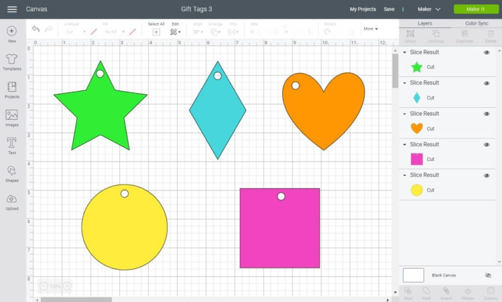 different types of gift tags you can make with shapes in Cricut Design Space