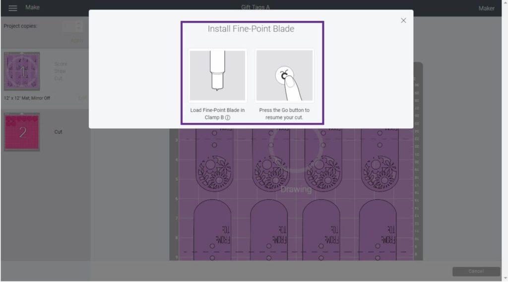 Change tool screenshot in Cricut Design Space