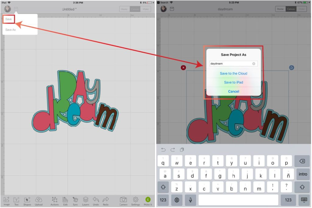 Saving and naming a project in Cricut Design Space App