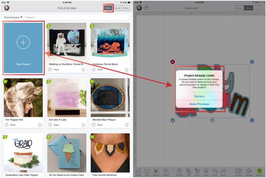 adding a new project and project warning in Cricut Design Space App