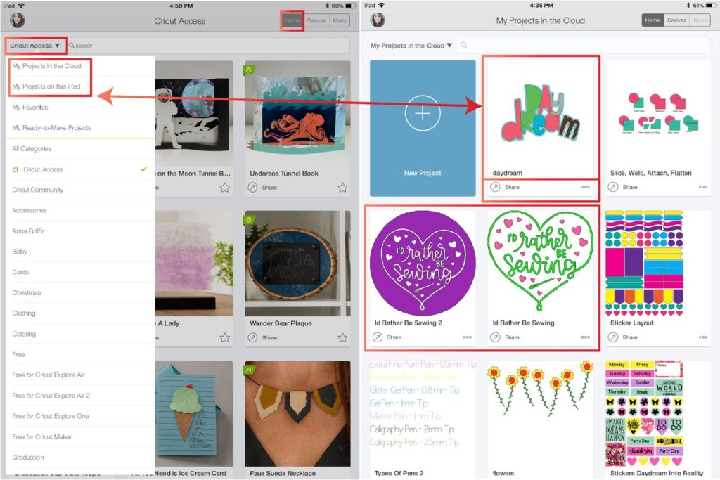 Opening projects in the cloud or Ipad/phone in Cricut Design Space App
