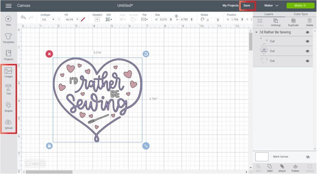 Image in Cricut Design Space Desktop
