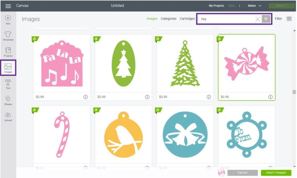 Add ready to cut gift tags in Cricut Design Space