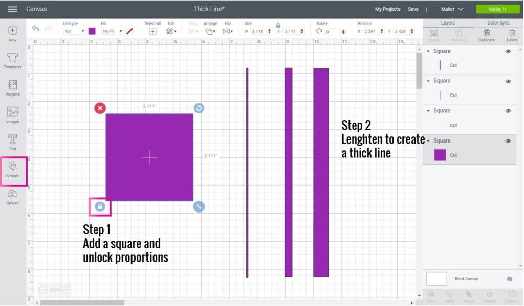 Making a thick line in Cricut Design Space