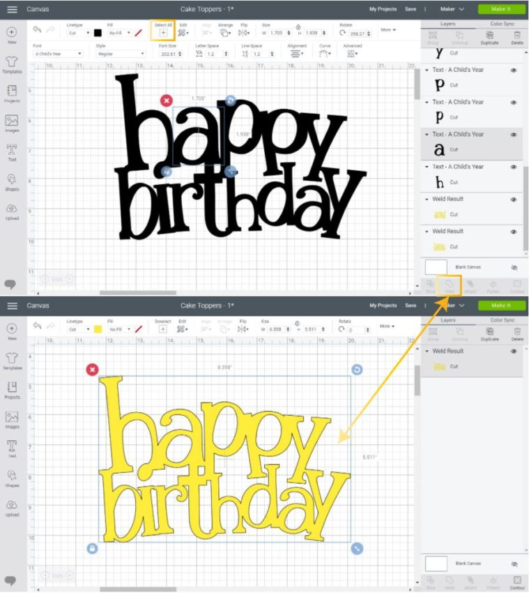 welding letters for cake topper in Cricut Design Space