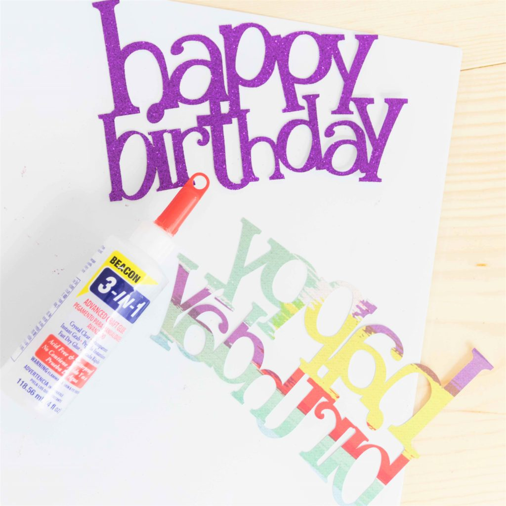 happy birthday cake topper cuts and glue