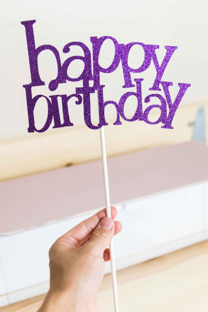 happy birthday cake topper made with Cricut Maker