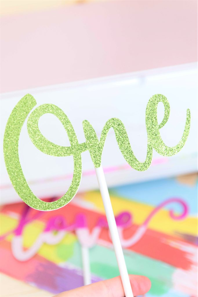 One Cake topper made with Cricut Maker