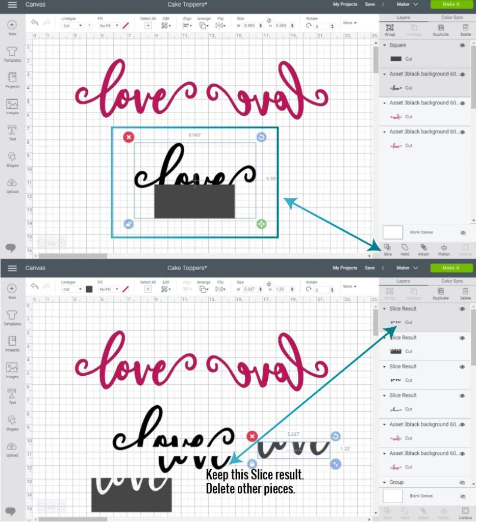 adding a shape and slicing a cake topper in Design Space