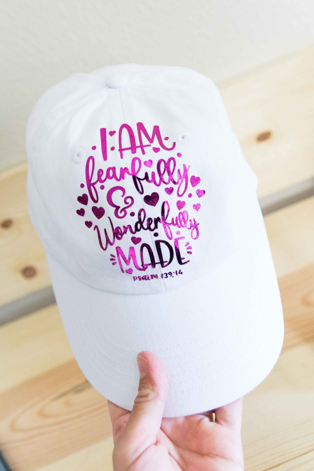 Hat made with the Cricut Easypress Mini