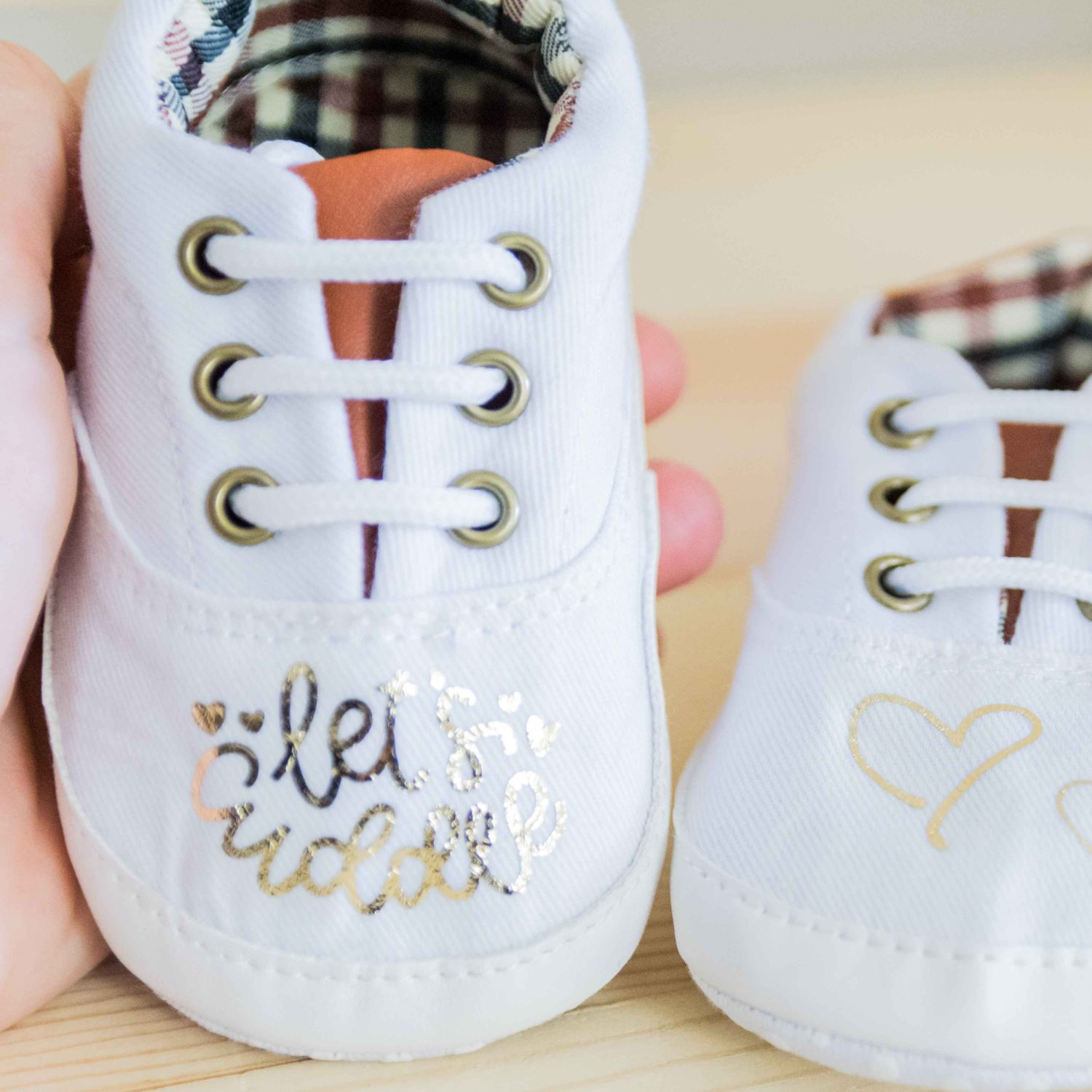 baby shoes made with foil iron on and Cricut Easypress Mini