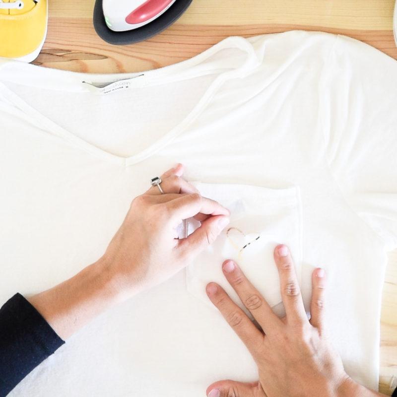 Pealing Foil Iron away from a shirt pocket
