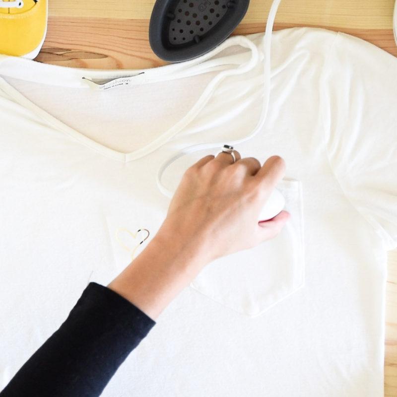 Preheating pocket on a t-shirt