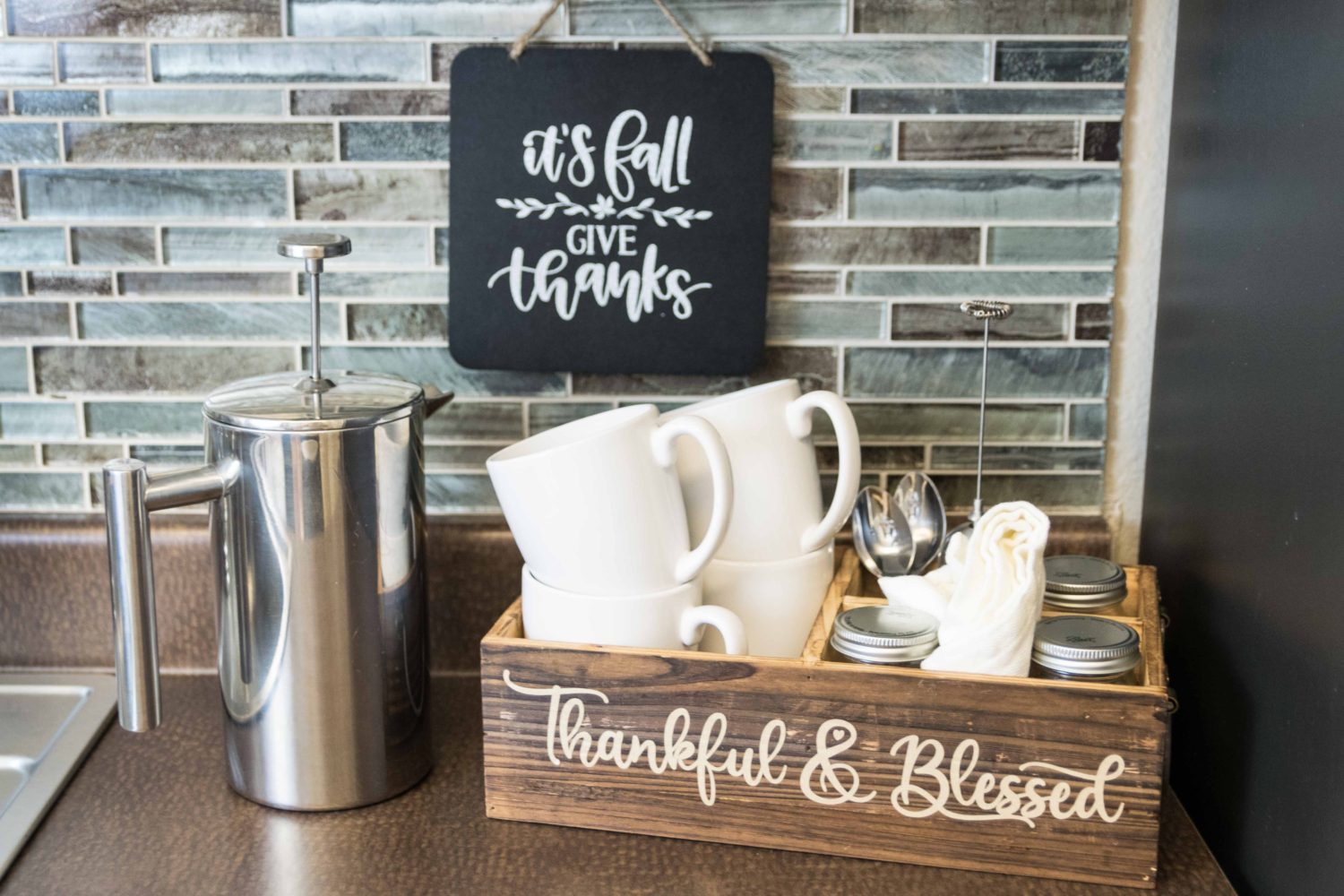 Fall inspired coffee station decor with Cricut