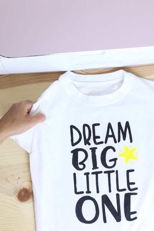 Dream Big Little One t-shirt made with Cricut and freezer paper method.