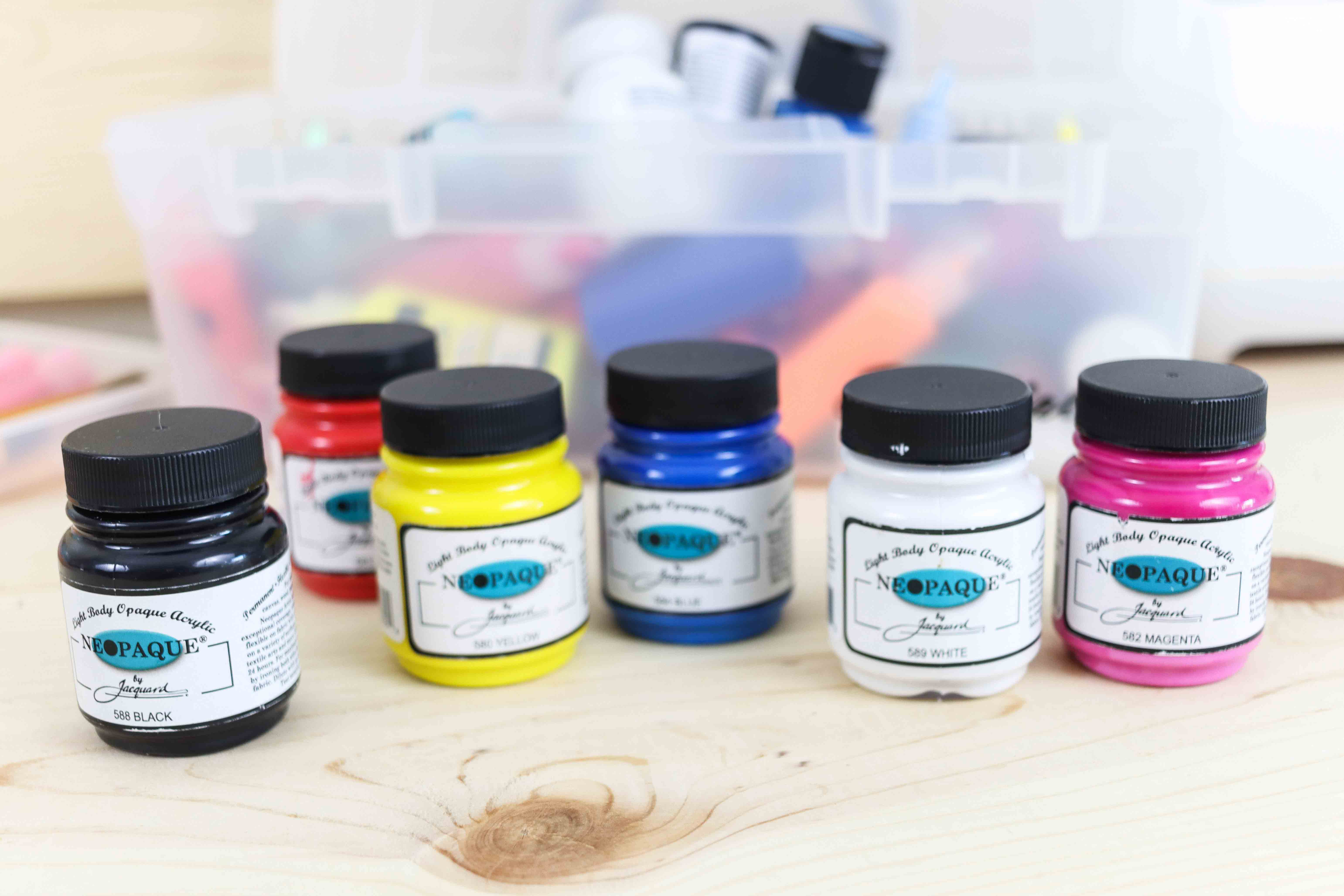 assorted colors neopaque by Jacquard paint for fabric