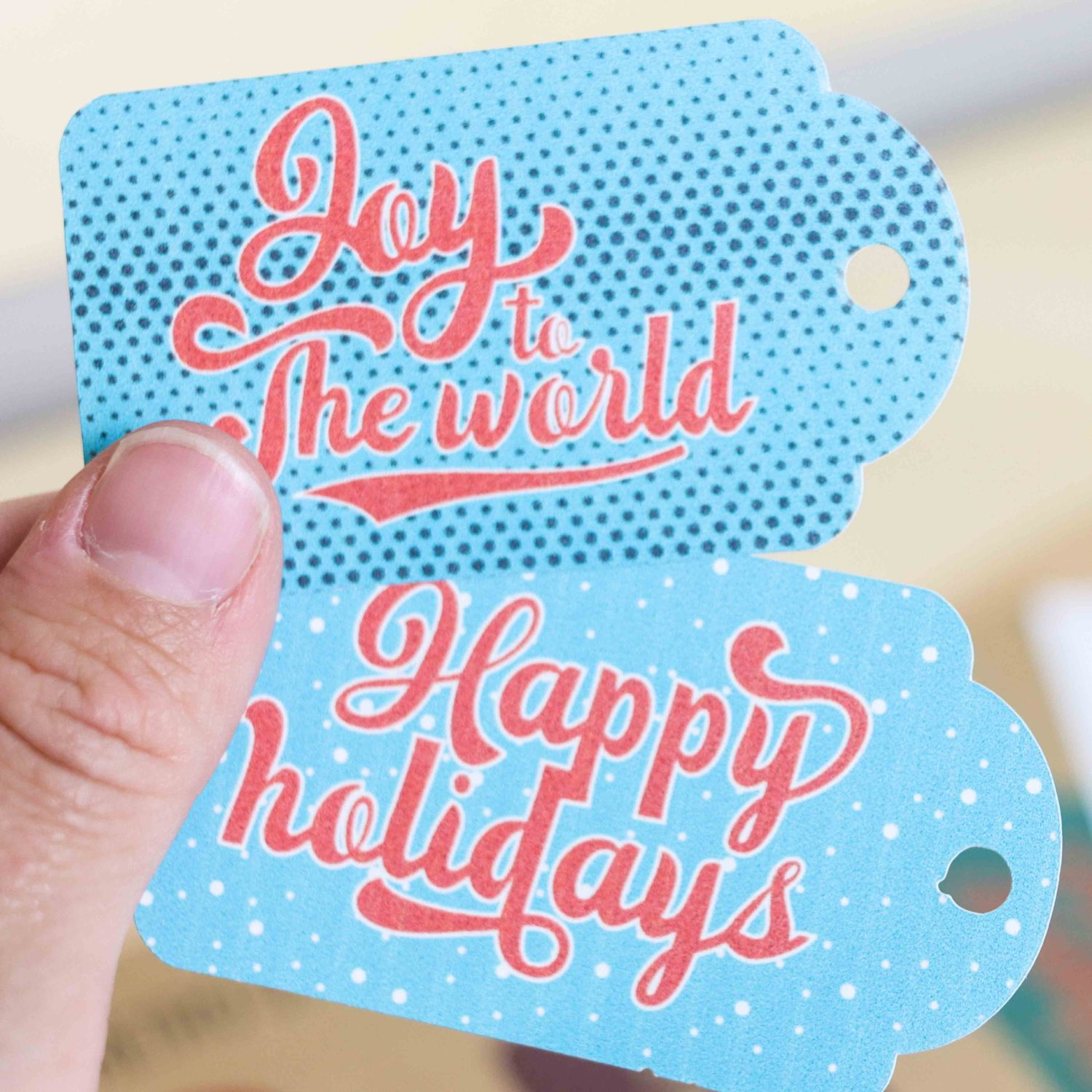Retro style Christmas gift tags (Blue and Red)