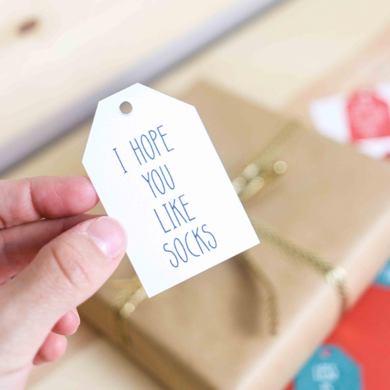 i hope you like sock free christmas gift tag