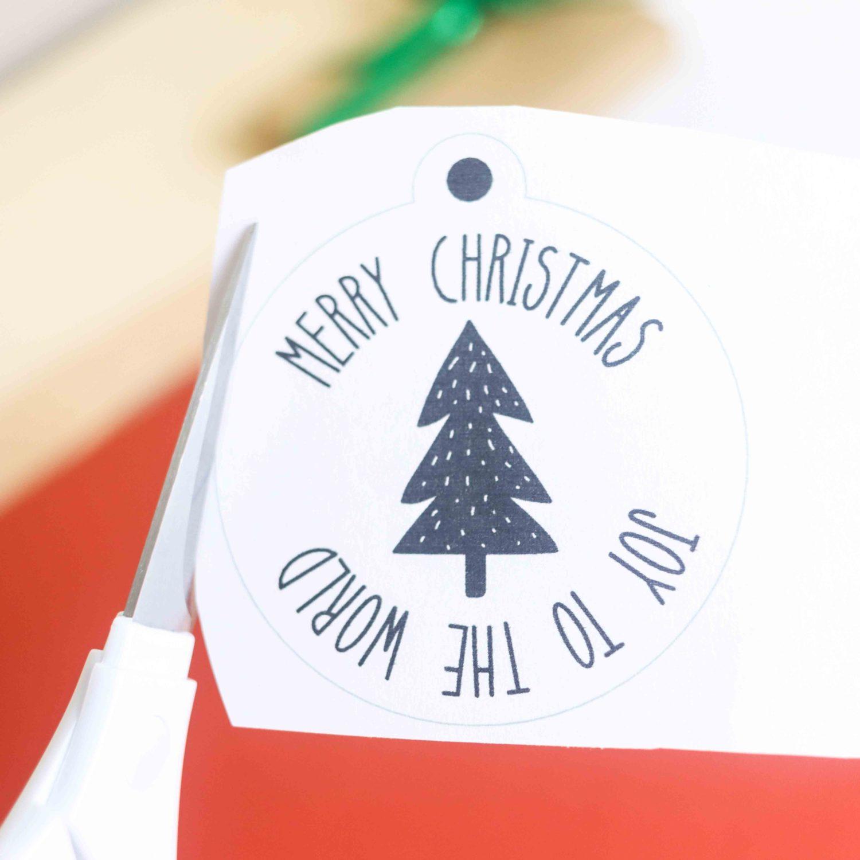 cutting around gift tag